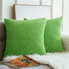 MIULEE Square Throw Pillow Covers Square Set of 2 15 x 15 Corduroy Lime Green