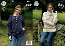 King Cole Ladies Chunky Knitting Pattern Womens Polo Neck Jumper & Cardigan 4743