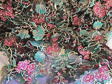 Kings Flower Design Multicolor Mesh Lace Fabric Aqua. Sold By The Yard