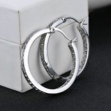 "Ladies Fashion Jewelry 925 Sterling Silver & Rhinestone 1 1/2"" Hoop Earrings"