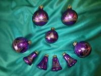 ~ 9 alte Christbaumkugeln Glas Glocken violett lila gold Weihnachtskugeln CBS~