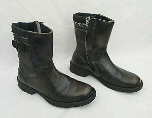 SOLE REVOLUTION BLACK LEATHER & CANVAS BIKER BOOTS UK7 EU41 FREE UK P&P!!