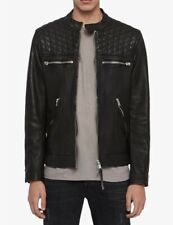 All Saints Amersham Leather Biker Jacket BNWT Black Size L LARGE