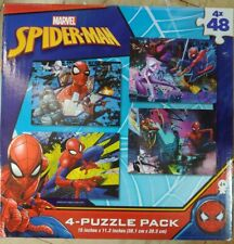 Marvel SPIDER-MAN 4 Puzzle Pack 48 Pieces Super Hero STAN LEE Kids Toy NEW