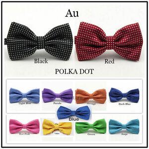 Mens POLKA DOT Silk Satin Tuxedo Solid Bow Tie Formal Wedding  Bowtie Necktie