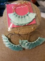 Origami owl  Hoop earrings With Tassels Attached