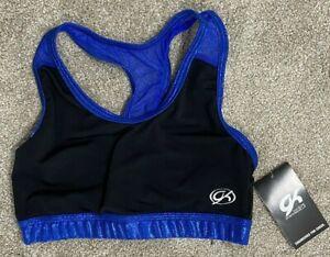 GK Elite Cheer Blue & Black Sports Bra Size Adult Medium Dance NWT