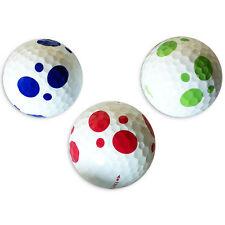 6 Golfbälle Weiß - Vision Goker Dalmatian - Lady Soft Bunt Rot Grün Golfgeschenk