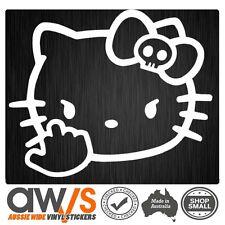 Hello Kitty Decal Car Window Sticker Rude Finger Skull Girls Girly Laptop decal