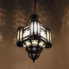 Marokkanische Lampe Arabische Hängeleuchte Laterne MOULAOULIDAT Milchglas H50cm