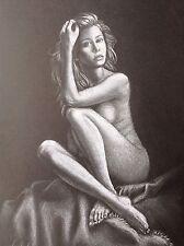 Arte Original Desnudo Erótico Pinup Dibujo A4 Hembra-Pose Sexy Mujer Desnuda Sensual