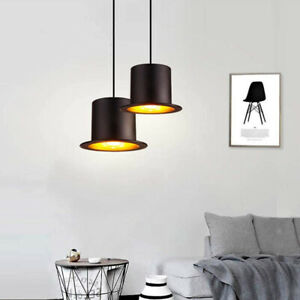 CGC Black Top Bowler Hat Vintage Pendant Light Gold Shade Jeeves Wooster Drop