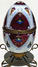 "GORGEOUS-19th CENTURY-LARGE-PORCELAIN-HAND-PAINTED ""EGG BOX""-ORNATE BASE"