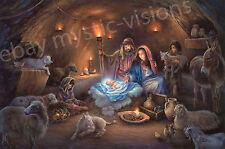 """NO ROOM FOR THEM IN THE INN Tom duBois S/N 20""""x30"""" Image Jesus Mary Joseph"""