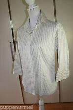 SHE klassische bluse weiß/blau/grau Gr. 40 Edel ansehen lohnt