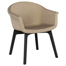 "26.8"" W Set of 2 Dining Chair Modern Khaki Fabric Seat Solid Wood Black Legs"