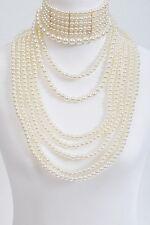 """16"""" cream faux pearl strand drape choker collar necklace bridal 2 piece"""