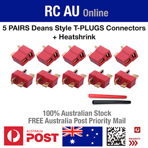 5 Pairs Deans Ultra T Style Plug Connectors + Heat shrink for RC LiPo Battery