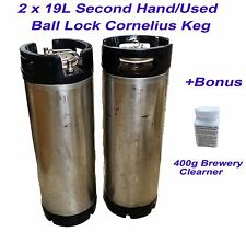 2 x 19L Second Hand Ball Lock Kegs with 400g Brewery Cleaner