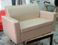 Divano due 2 posti Divanetto beige tessuto ecopelle sofà poltrona relax sedia