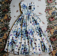 Women's Sleeveless V Neck Long Chiffon Dress Pink/Blue Butterfly summer Dress