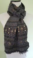 Inc International Concepts black bronze beaded bottom scarf wrap