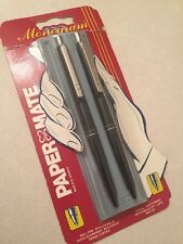VINTAGE PAPER MATE BLACK CT MONOGRAM BALLPOINT PEN & PENCIL-NEW OLD STOCK