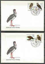 Germany (East) DDR GDR 1982 FDC (2) Protected Birds Osprey Eagle Owl Black Stork
