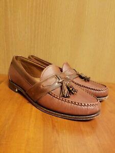 Men's Allen Edmonds Ashford Loafers Brown Leather Tassels Moc Toe Shoes Size 10D