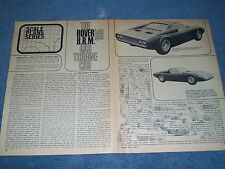 1965 Rover B.R.M. Gas Turbine Race Car Vintage Info Article from 1966