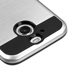 FOR HTC BOLT 10 EVO SILVER BLACK BRUSHED HYBRID CASE HEAVY DUTY SLIM COVER