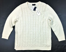 Lands' End Women's Drifter V-Neck Cable Tunic Sweater, Ivory Size 2X MSRP $59.00