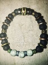 Chakra Healing Stone ,balance Bracelet/Lava & 3 Turquoise Natural Stones.