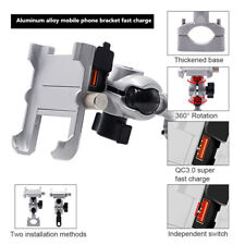 Aluminum Motorcycle Mobile Phone Holder Waterproof QC3.0 Intelligent Fast Charge