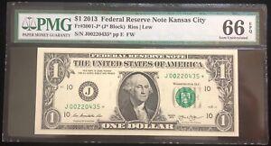 2013 $1 FRN Kansas City Star Note PMG 66 Gem UNC EPQ Fr. 3001-J* 250K (#lb4)