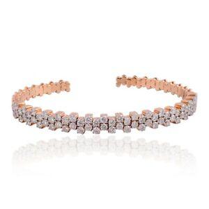 18k Rose Gold Natural 3.20 Ct SI/HI Pave Diamond Cuff Bangle Bracelet Jewelry