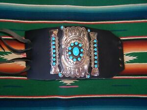 WOW~Native American XL Turquoise & Nickel Silver Bow Guard Ketoh Leather Cuff