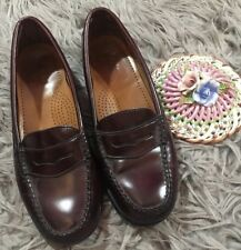 GH BASS CO WEEJUNS Brown Red Penny Loafer Wayfarer Leather Shoes Womens 6.5