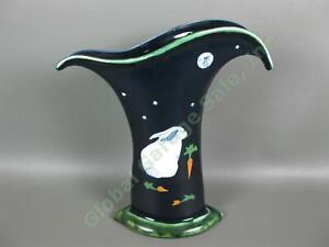 Karen Howell Pottery Legend of the Rabbit Moon Bunny Carrots Cobalt Blue Vase NR