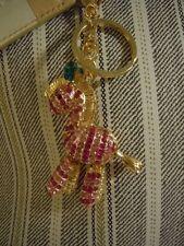 BEAUTIFUL PINK ZEBRA RHINESTONE & METAL ALLOY PURSE CHARM / KEY CHAIN / KEY RING