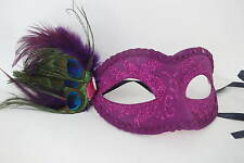 Ladies Purple Glittered Sparkly Venetian Carnival Masquerade Mask Feathers Bling
