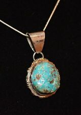 Necklace Mountain Turquoise Sterling Silver Native American Navajo Artist Fontz