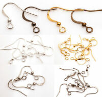 DIY 100X French Hook Earring Findings Ear Wire Hooks Brass Silver Gold Plated