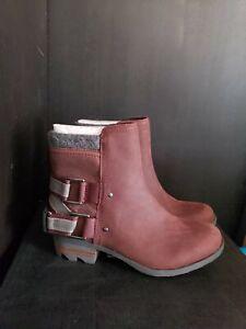 Sorel Lolla Boots Ankle Bootie in Redwood Waterproof Leather $190, Sz 6.5, Nib!