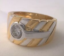 G-Filled Mens 18ct gold two tone ring simulated diamond striped white yellow new