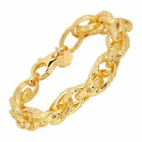 Large Chain Bracelet in 18K Gold-Plated Bronze, 8""