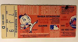 Vintage 1969 New York Mets World Series Ticket Stub Game 5 Shea Stadium