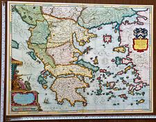 """Large Old Antique Picture Poster Map of Greece 1600s REPRINT 22 x 17"""" Blaeu"""