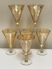 Glastonbury Lotus Catalina Amber Iridescent Optic Glass 6 Iced Tea Water Goblets