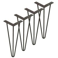 16'' 3-rod Hairpin Solid Iron Metal Table Leg Desk Chair Legs Set of 4 w/Screw